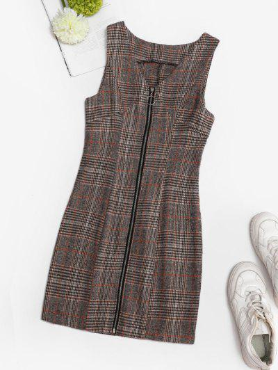 Plaid Zip Up Mini Pinafore Dress - Coffee M