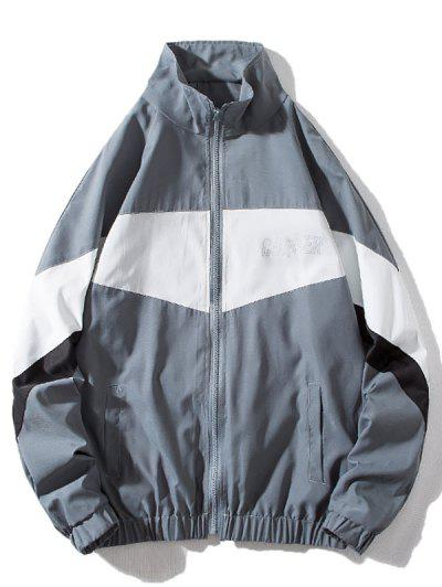 Around Corner Graphic Colorblock Windbreaker Jacket - Gray Xl