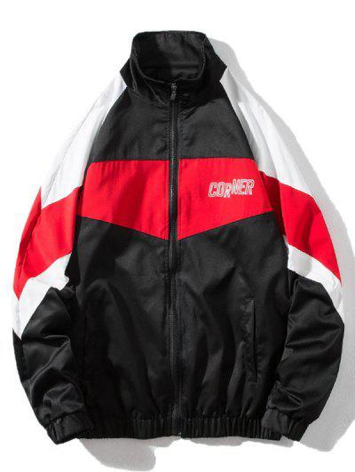 Around Corner Graphic Colorblock Windbreaker Jacket - Black 3xl