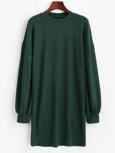Crewneck Rib-knit Shift Dress - Green M