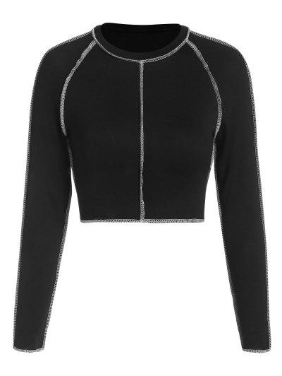 ZAFUL Topstitching Raglan Sleeve Crop T Shirt - Black L
