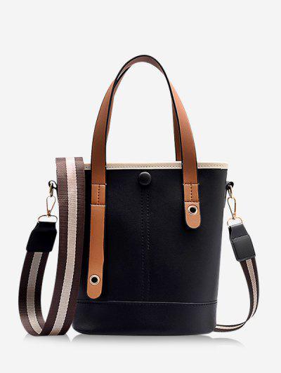 Striped Strap Crossbody Handbag - Black