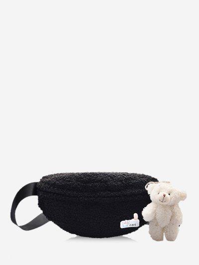 Bear Pendant Fluffy Crossbody Bag - Black