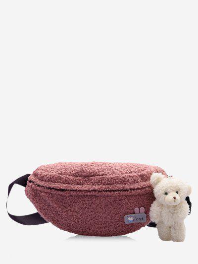 Bear Pendant Fluffy Crossbody Bag - Pink