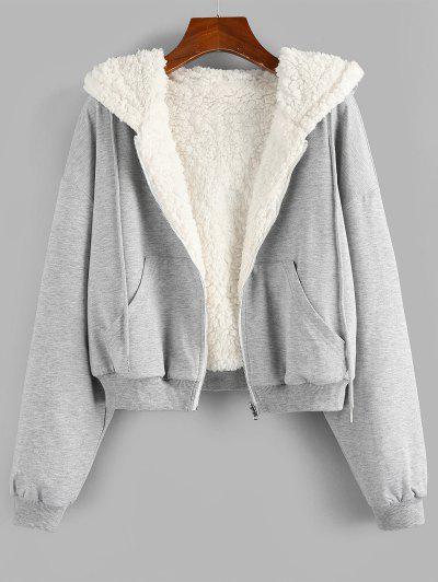 ZAFUL Reversible Hooded Drop Shoulder Zipper Teddy Coat - White M