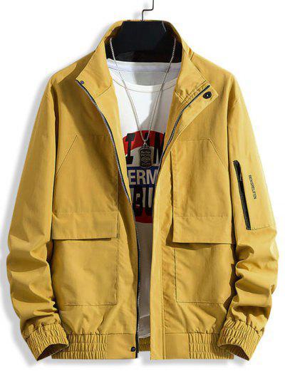 Letter Print Flap Pocket Patch Jacket - Yellow M