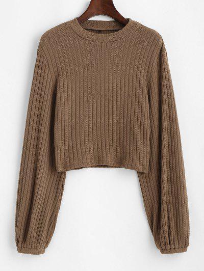 ZAFUL Ribbed Lantern Sleeve Cropped Sweater - Camel Brown M