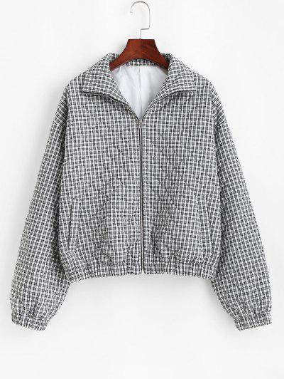 ZAFUL Gingham Quilted Coat - Black M