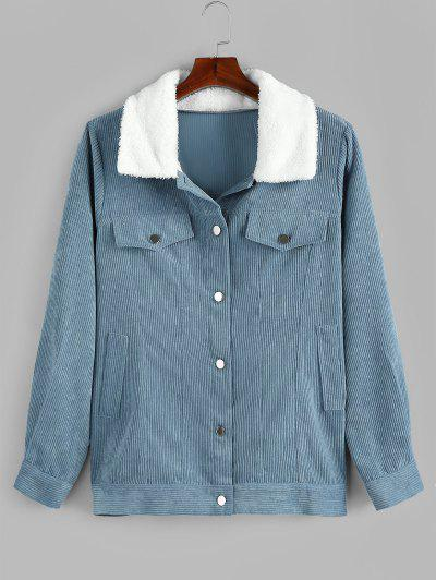Plus Size Faux Fur Collar Corduroy Pocket Coat - Denim Blue 1x