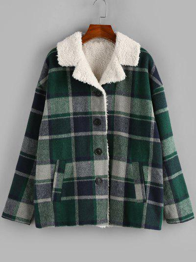 ZAFUL Plaid Drop Shoulder Faux Shearling Lined Coat - Deep Green L
