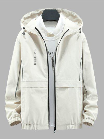 Heart Like Sunshine Print Zip Up Hooded Jacket - Beige L
