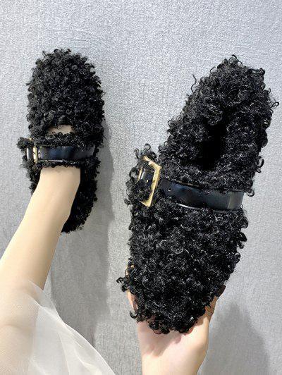 Buckle Strap Teddy Faux Fur Flat Shoes - Black Eu 39