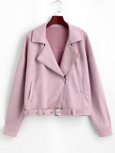 ZAFUL Zip Up Belted Faux Suede Jacket - Lipstick Pink S