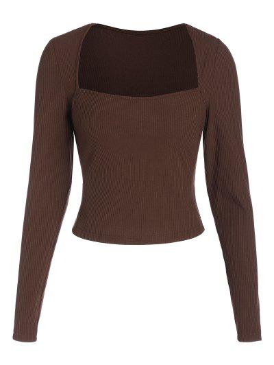 ZAFUL Ribbed Square Collar Cropped T Shirt - Deep Coffee L