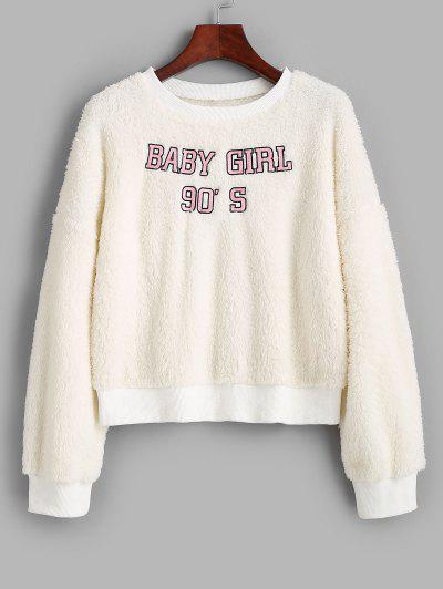 Crew Neck Fluffy BABY GIRL Embroidered Sweatshirt - White L