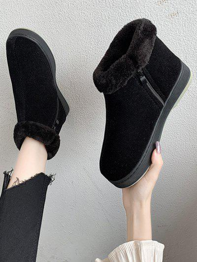 Inner Fleece Flat Heel Snow Boots - Black Eu 38