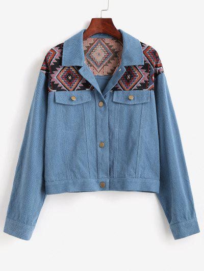 ZAFUL Patchwork Tribal Denim Jacket - Deep Blue S
