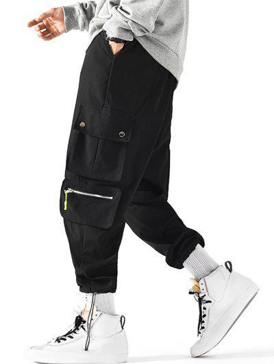 Drawstring Ankle Utility Pocket Cargo Pants - Black L