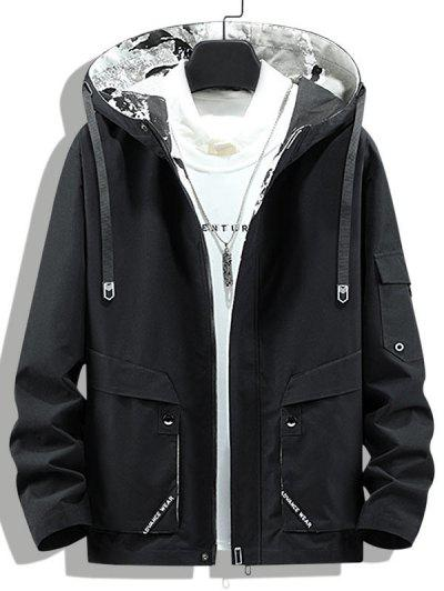 Letter Print Back Slit Hooded Jacket - Black Xs