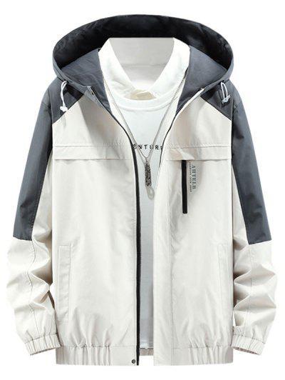 Colorblock Panel Letter Hooded Jacket - Beige L