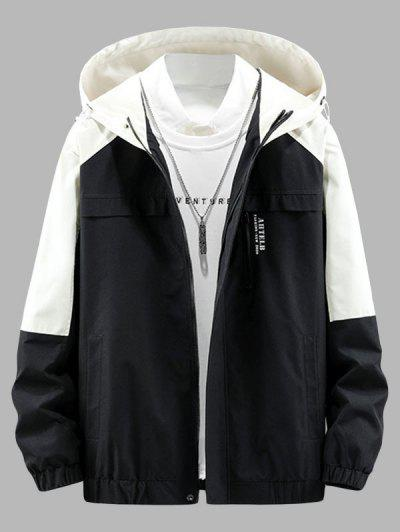 Colorblock Panel Letter Hooded Jacket - Black Xs