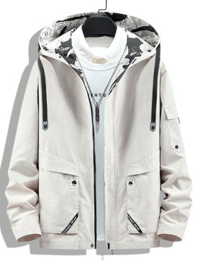 Letter Print Back Slit Hooded Jacket - Beige Xs