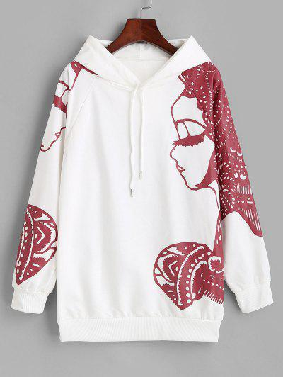 Raglan Sleeve Pretty Girl Graphic Hoodie - White Xl