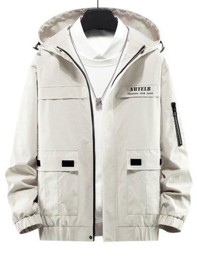Letter Print Flap Pocket Zip Up Hooded Jacket - Beige L