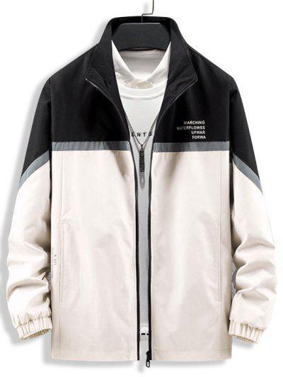 Colorblock Reflective Panel Zip Up Jacket - Black S