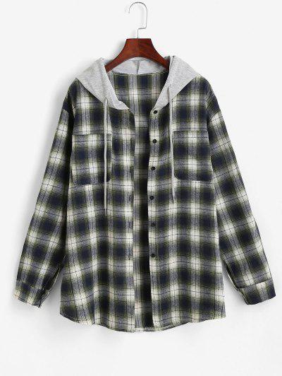 Hooded Checked Front Pocket Jacket - Green M