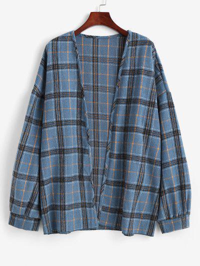 Plaid Drop Shoulder Open Front Coat - Blue Koi L