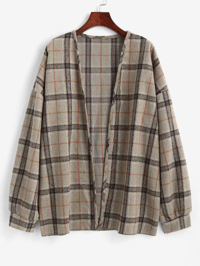 Plaid Drop Shoulder Open Front Coat - Camel Brown M