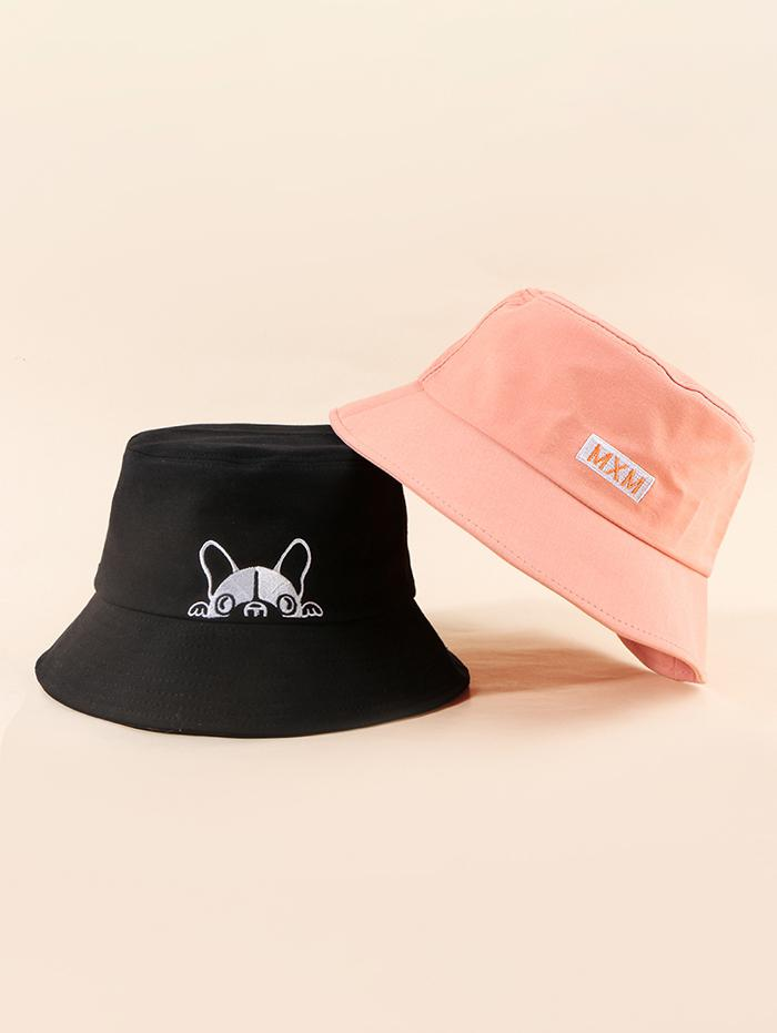 2Pcs Embroidery Dog Letter Bucket Hat Set