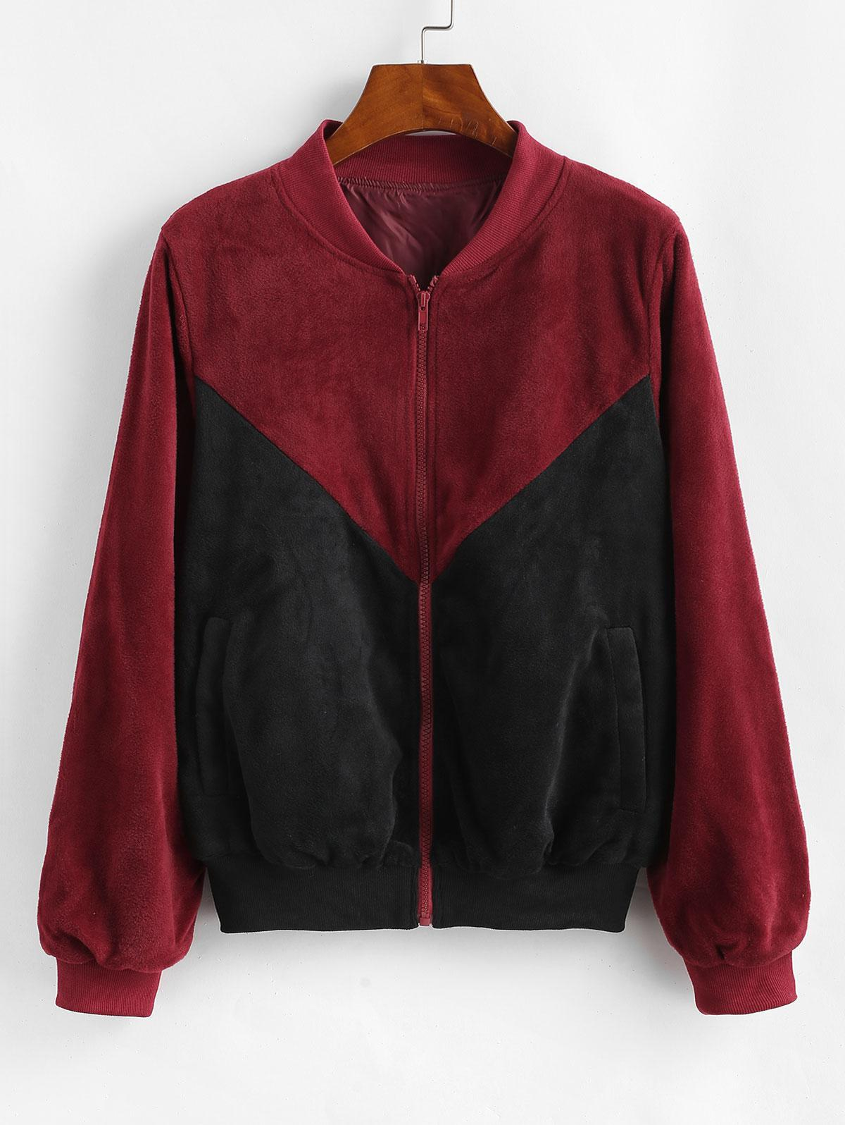 ZAFUL Velvet Color Block Jacket