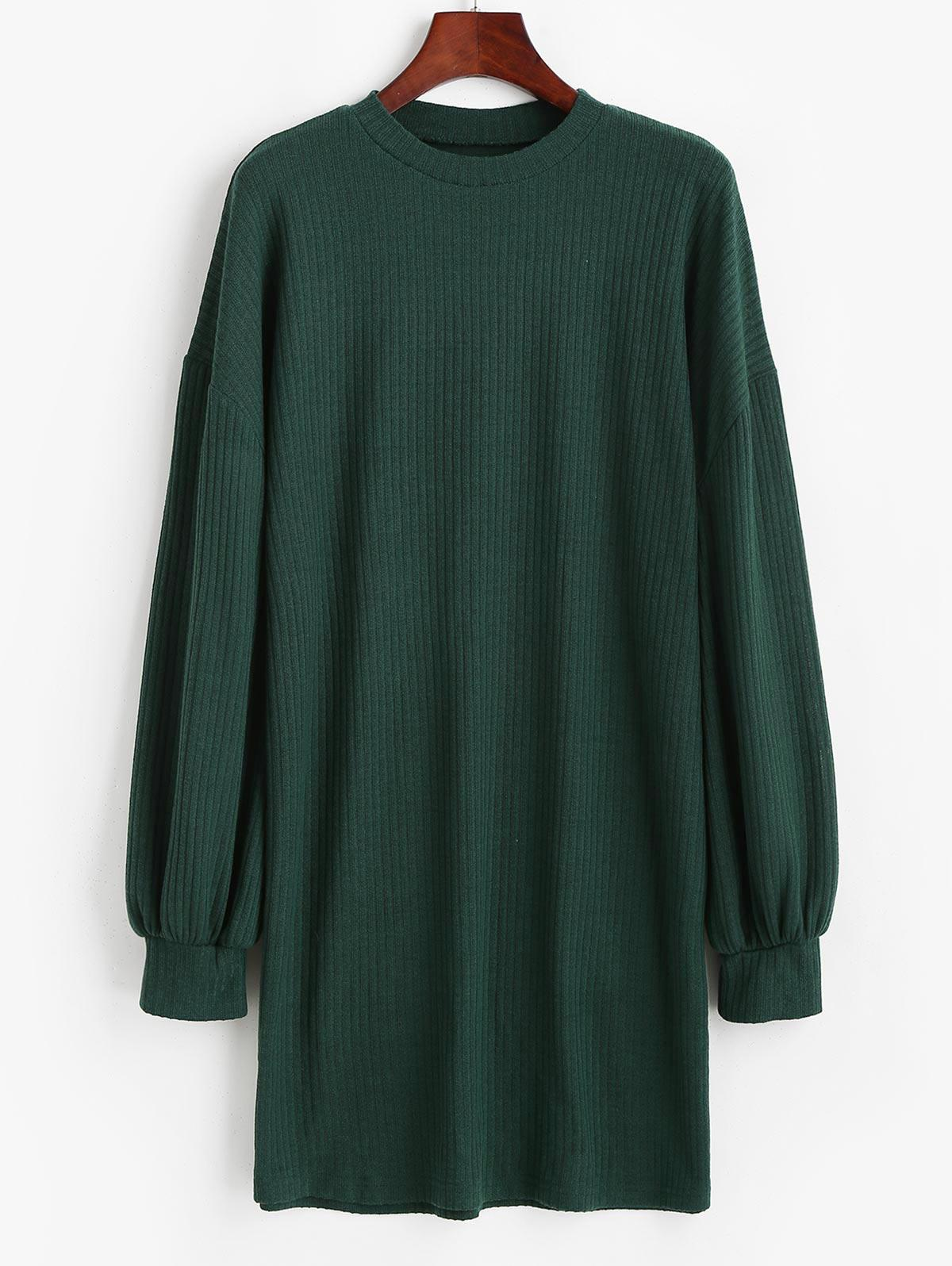 Crewneck Rib-knit Shift Dress