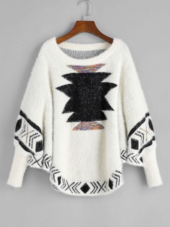 ZAFUL Weihnachten Graphik Flumige Knit Fledermaus Strickjacke - Multi S