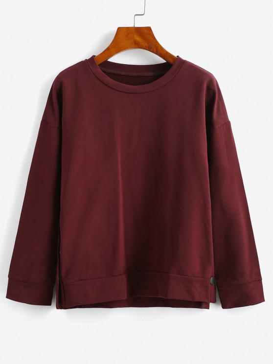 womens ZAFUL Drop Shoulder High Low Button Sweatshirt - RED WINE S