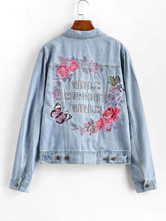 fashion Embroidered Button Up Jean Jacket - JEANS BLUE S