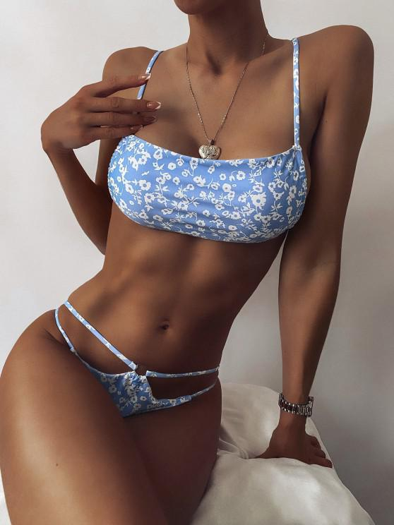 hot ZAFUL Ditsy Print O Ring Tanga Bikini Swimwear - LIGHT BLUE L