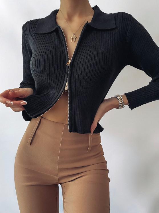 fashion ZAFUL Zip Fly Ribbed Cardigan - BLACK L