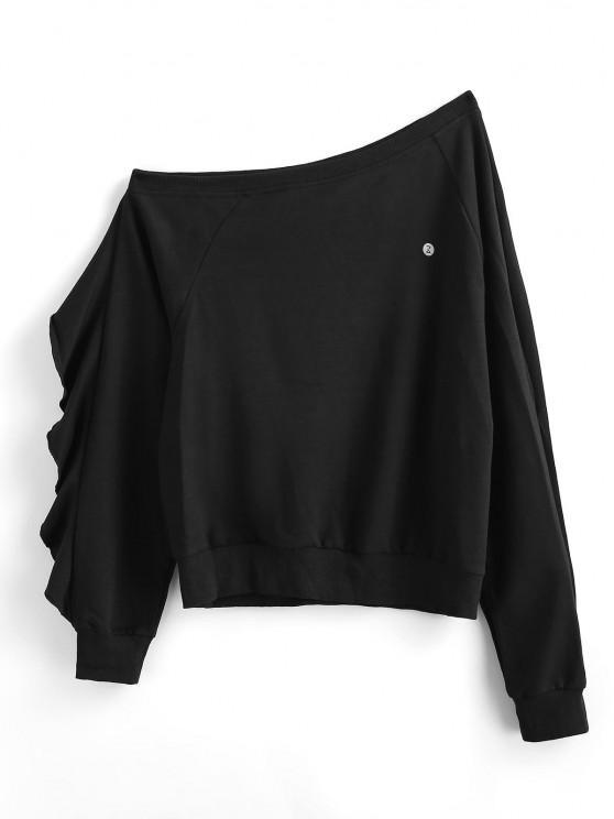 new ZAFUL Ruffle Skew Neck Sweatshirt - BLACK M