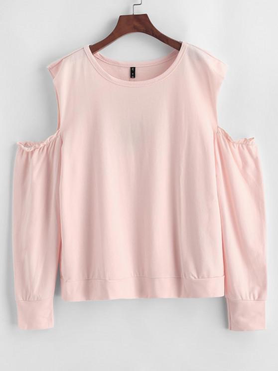 fashion ZAFUL Plus Size Open Shoulder Sweatshirt - ORANGE PINK 2X