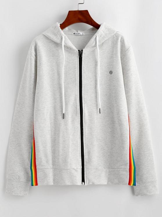 unique ZAFUL Striped Slit Hooded Jacket - LIGHT GRAY S