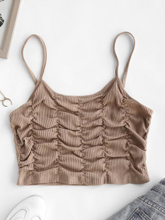hot Ribbed Ruched Crop Cami Top - LIGHT COFFEE S