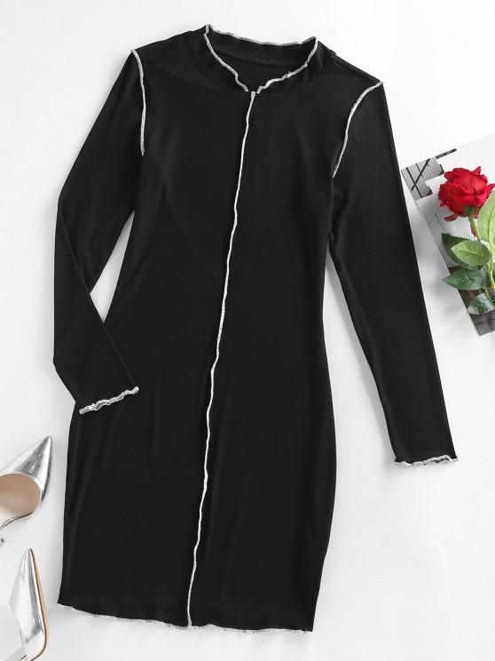 buy ZAFUL Ribbed Topstitching Bodycon Dress - BLACK XL