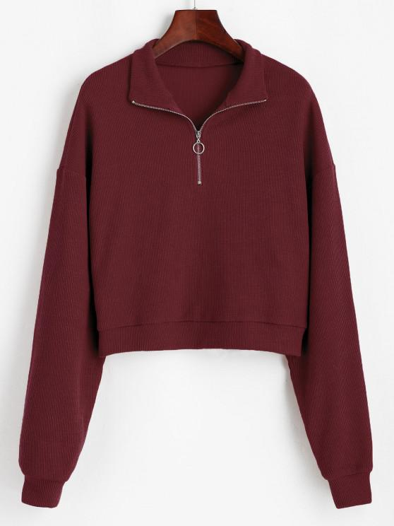 unique ZAFUL Half Zip Drop Shoulder Rib Knit Sweater - DEEP RED M
