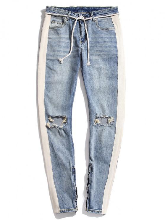 Destroy Wash Colorblock Patchwork Zipper Hem Jeans - أزرق فاتح XS