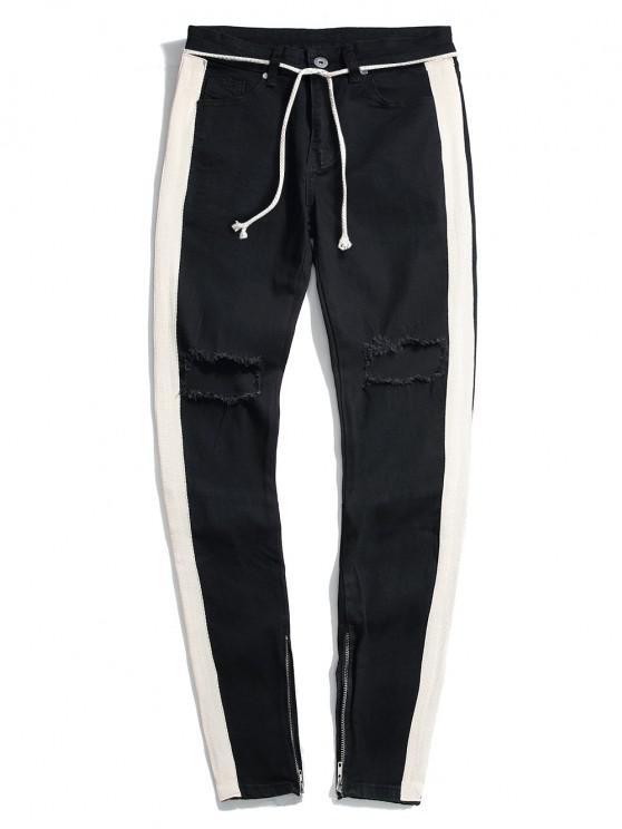 Destroy Wash Colorblock Patchwork Zipper Hem Jeans - أسود M