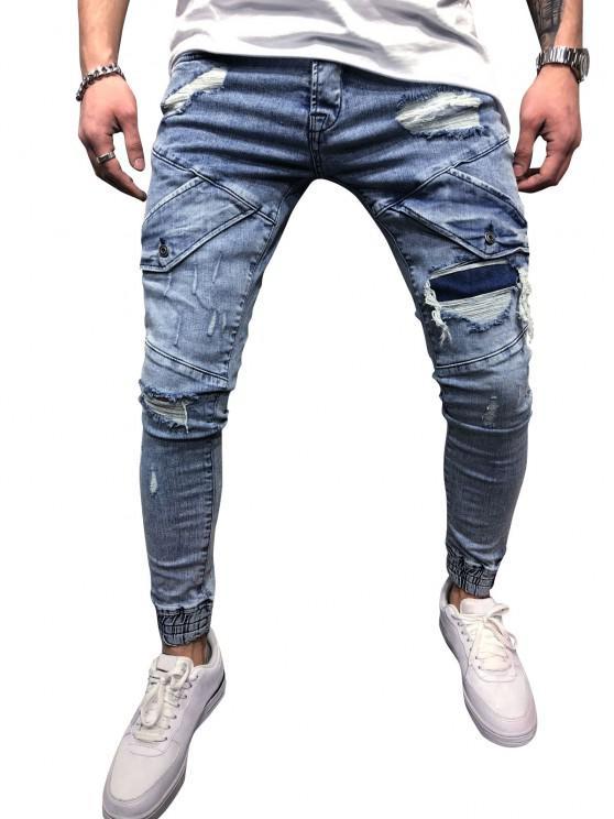 chic Destroy Wash Scratch Patchwork Beam Feet Jeans - LIGHT BLUE 36
