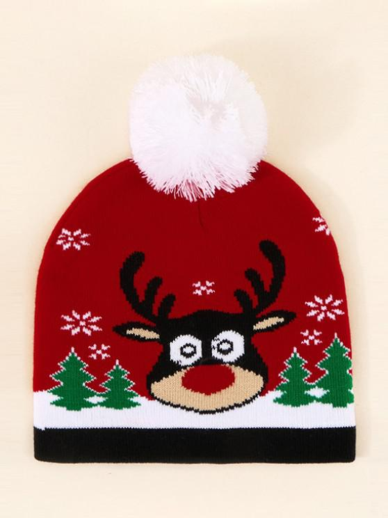 outfit Christmas Elk Pattern Pom Pom Hat - LAVA RED